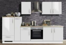 Küchenblock Einbauküche White Premium weiß Hochglanz Lack inkl. E-Geräte und Apothekerschrank 300 cm