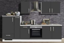 Küchenblock Einbauküche White Premium Schiefer grau inkl. E-Geräte und Apothekerschrank 300 cm