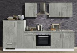 Küchenblock Einbauküche White Premium Beton-Optik inkl. E-Geräte und Apothekerschrank 300 cm