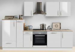 Küchenblock Einbauküche White Premium weiß Hochglanz Lack inkl. E-Geräte + Geschirrspüler und Apothekerschrank 300 cm