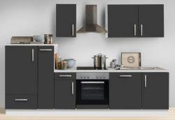 Küchenblock Einbauküche White Premium Schiefer grau inkl. E-Geräte + Geschirrspüler und Apothekerschrank 300 cm