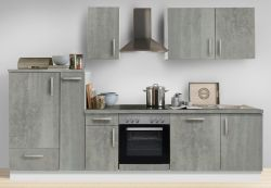 Küchenblock Einbauküche White Premium Beton-Optik inkl. E-Geräte + Geschirrspüler und Apothekerschrank 300 cm
