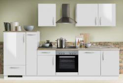 Küchenblock Einbauküche White Premium weiß Hochglanz Lack inkl. E-Geräte + Geschirrspüler und Apothekerschrank 310 cm