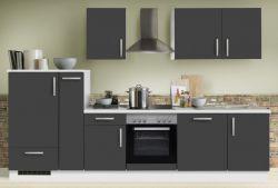 Küchenblock Einbauküche White Premium Schiefer grau inkl. E-Geräte + Geschirrspüler und Apothekerschrank 310 cm
