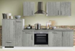 Küchenblock Einbauküche White Premium Beton-Optik inkl. E-Geräte + Geschirrspüler und Apothekerschrank 310 cm