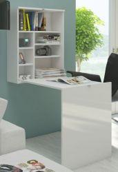 Schreibtisch Park in Hochglanz weiß Wandtisch klappbar Computertisch 60 x 24 / 93 cm Klapptisch Laptoptisch