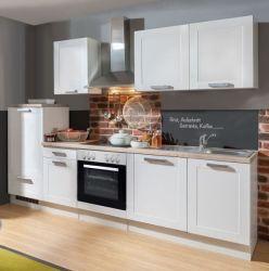 Küchenblock Einbauküche White Premium weiß matt Landhaus inkl. E-Geräte 270 cm