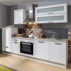Küchenblock Einbauküche White Premium weiß matt Landhaus inkl. E-Geräte + Geschirrspüler satiniertes Glas 280 cm