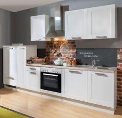 Küchenblock Einbauküche White Premium weiß matt Landhaus inkl. E-Geräte und Apothekerschrank 300 cm