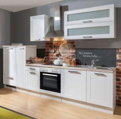 Küchenblock Einbauküche White Premium weiß matt Landhaus inkl. E-Geräte + Geschirrspüler Apothekerschrank satiniertes Glas 300 cm