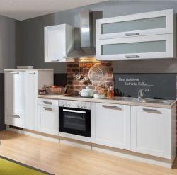 Küchenblock Einbauküche White Premium weiß matt Landhaus inkl. E-Geräte + Geschirrspüler Apothekerschrank satiniertes Glas 310 cm