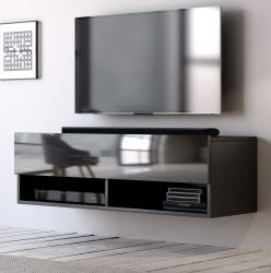 TV-Lowboard Epsom in Hochglanz schwarz TV-Unterteil hängend 100 x 30 cm Fernsehschrank