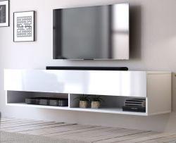 TV Lowboard Epsom in weiß Hochglanz hängend 140 x 30 cm