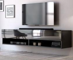 TV Lowboard Epsom in schwarz Hochglanz hängend 140 x 30 cm
