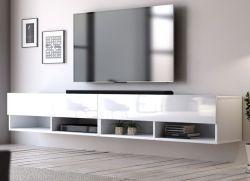 TV-Lowboard Epsom in Hochglanz weiß TV-Unterteil hängend 200 x 30 cm Fernsehschrank XL