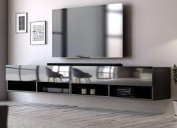 TV Lowboard Epsom in schwarz Hochglanz hängend 200 x 30 cm