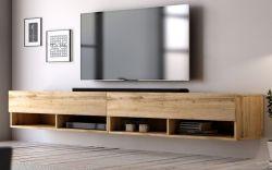 TV-Lowboard Epsom in Wotan Eiche TV-Unterteil hängend 280 x 30 cm Fernsehschrank XXL