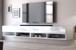 TV Lowboard Epsom in weiß Hochglanz hängend 280 x 30 cm