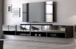 TV-Lowboard Epsom in Hochglanz schwarz TV-Unterteil hängend 280 x 30 cm Fernsehschrank XXL