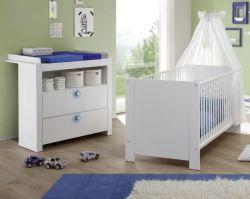 Babyzimmer Olivia in weiß und blau komplett Set 2-teilig mit Wickelkommode und Babybett