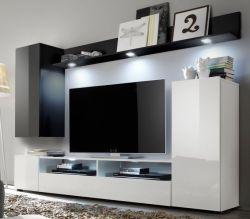 Wohnwand Medienwand DOS weiß und schwarz Hochglanz 208 x 165 cm bis ca. 55