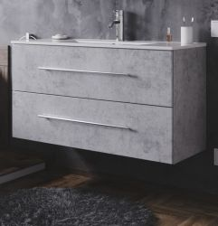 Waschbeckenunterschrank Homeline in Stone Design grau Waschtisch hängend inkl. Waschbecken 2-teilig 100 x 54 cm