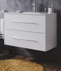 Waschbeckenunterschrank Homeline in Hochglanz weiß Waschtisch hängend inkl. Waschbecken 2-teilig 80 x 54 cm