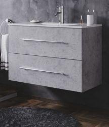 Waschbeckenunterschrank Homeline in Stone Design grau Waschtisch hängend inkl. Waschbecken 2-teilig 80 x 54 cm