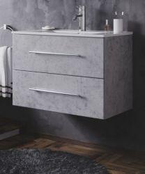 Waschbeckenunterschrank Homeline in Stone Design grau Waschtisch hängend inkl. Waschbecken 2-teilig 70 x 54 cm