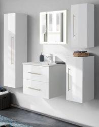 Badezimmer Badmöbel Set Homeline in Hochglanz weiß Badkombination 6-teilig inkl. Waschbecken und LED Beleuchtung