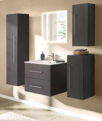 Badezimmer Badmöbel Set Homeline in anthrazit Seidenglanz Badkombination 6-teilig inkl. Waschbecken und LED Beleuchtung