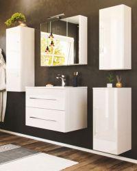 Badezimmer Badmöbel Set Homeline in Hochglanz weiß Badkombination 7-teilig inkl. Waschbecken und LED Beleuchtung