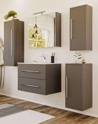 Badezimmer Badmöbel Set Homeline in anthrazit Seidenglanz Badkombination 7-teilig inkl. Waschbecken und LED Beleuchtung