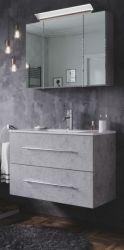 Badmöbel Set Homeline in Stone Design grau Badkombination 4-teilig inkl. Waschbecken und LED Beleuchtung 80 cm