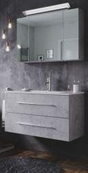 Badmöbel Set Homeline in Stone Design grau Badkombination 4-teilig inkl. Waschbecken und LED Beleuchtung 90 cm