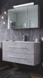 Badmöbel Set Homeline in Stone Design grau Badkombination 4-teilig inkl. Waschbecken und LED Beleuchtung 100 cm