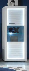 Vitrinenschrank Stauraumvitrine Starlight weiß Hochglanz mit Rillenoptik inklusive LED-Beleuchtung