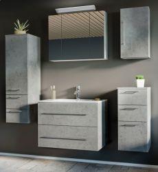 Badmöbel Set Homeline in Stone Design grau Badkombination 7-teilig inkl. Waschbecken und LED Beleuchtung 180 x 190 cm