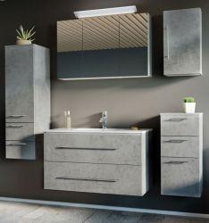 Badmöbel Set Homeline in Stone Design grau Badkombination 7-teilig inkl. Waschbecken und LED Beleuchtung 200 x 190 cm