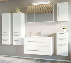 Badmöbel Set Homeline in Hochglanz weiß Badkombination 8-teilig inkl. Waschbecken und LED Beleuchtung 250 x 190 cm