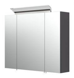 Badezimmer Spiegelschrank Homeline in anthrazit Seidenglanz inklusive Design LED Spiegellampe 3-türig 80 x 62 cm
