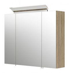Badezimmer Spiegelschrank Homeline in Sonoma Eiche hell inklusive Design LED Spiegellampe 3-türig 80 x 62 cm
