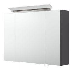 Badezimmer Spiegelschrank Homeline in anthrazit Seidenglanz inklusive Design LED Spiegellampe 3-türig 90 x 62 cm