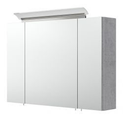 Badezimmer Spiegelschrank Homeline in Stone Design grau inklusive Design LED Spiegellampe 3-türig 90 x 62 cm