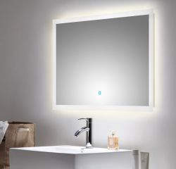 Badspiegel Homeline inkl. LED Beleuchtung mit Touch Bedienung Badezimmer Spiegel weiß 90 x 60 cm