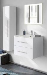 Badezimmer Badmöbel Set Homeline in Hochglanz weiß Badkombination 4-teilig inkl. Waschbecken und LED Beleuchtung