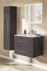 Badezimmer Badmöbel Set Homeline in anthrazit Seidenglanz Badkombination 4-teilig inkl. Waschbecken und LED Beleuchtung