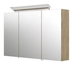 Badezimmer Spiegelschrank Teramo in Sonoma Eiche hell inklusive Design LED Spiegellampe 3-türig 100 x 62 cm