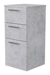 Badezimmer Hängeschrank Teramo in Stone Design grau Badschrank 37 x 75 cm Badmöbel Kommode