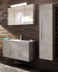Badkombination Teramo in Stone Design grau Badmöbel Set 5-teilig inkl. Waschbecken und LED Beleuchtung 150 x 190 cm